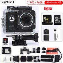 RICH Action Camera F60 4K/30fps 1080P/60fps 720P/120fps 2.0″ 170D Wifi Helmet Cam Mini Camera Waterproof Sport Camera