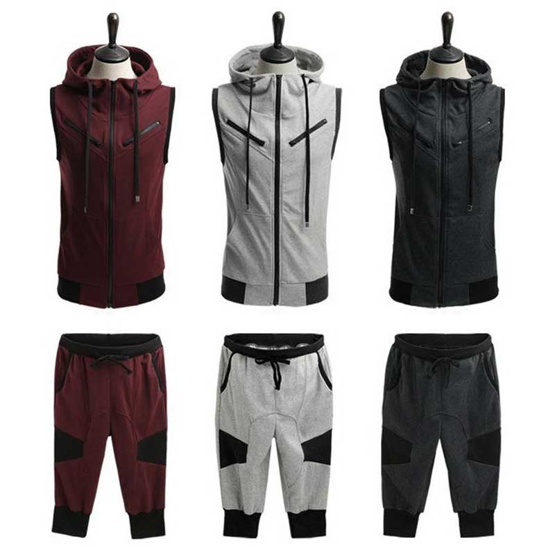ZOGAA 2019 Men's Summer Set Casual Cotton Sporting Men Set Short Track Suit 2 Pieces Vest + Pant Men Track Suit Tracksuit Outfit
