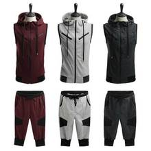 ZOGAA 2019 Mens Summer Set Casual Cotton Sporting Men Short Track Suit 2 Pieces Vest + Pant tracksuit outfit