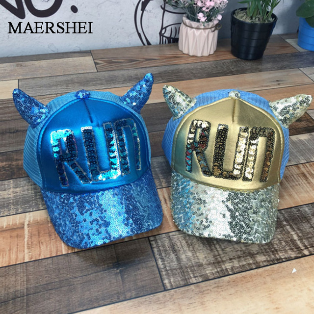 MAERSHEI 2019 Hot Sequins Ear Hats Kids Snapback Baseball Cap With Ears Funny Hats Spring Summer Hip Hop Boy Girls Hats Caps