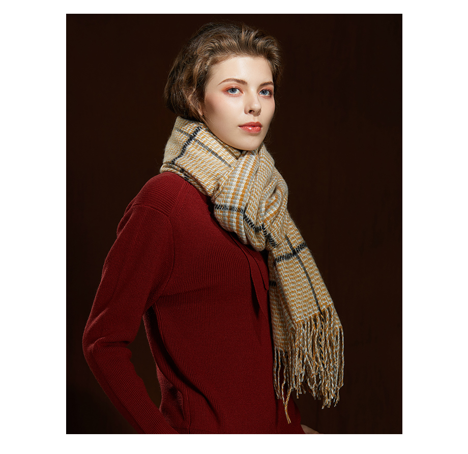 2019 New Winter Autumn Wool Knitted Women Scarf Plaid Warm Cashmere Scarves Shawls Luxury Brand Neck Lady Wrap High Quality (12)