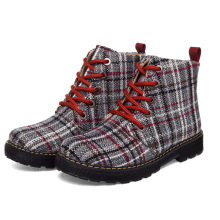 Autumn Winter Ankle New Women Boots Martin Boots High-top Platform Boots Gingham Fashion Lace-Up  Round Toe Elegant Shoes Woman недорго, оригинальная цена