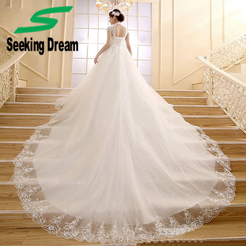 2017 Girl White Sexy Illusion Gown Dress High Collar Tulle Chapel Train Wedding Dress Elegant Bride Rhinestones Plus Size KDT010
