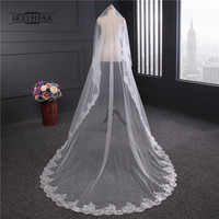 Romantic White Ivory 3 Meters Wedding Veils Cathedral Veil Lace Edge One Layer Bridal Veil Wedding