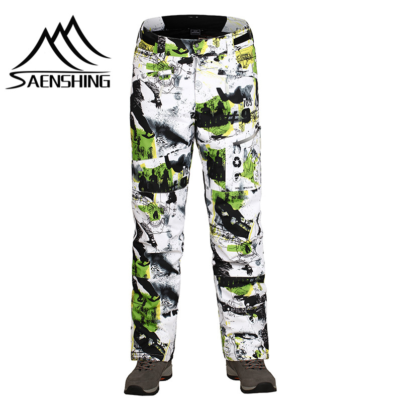 SAENSHING -30 degree Winter ski pant men snow trousers Waterproof windproof thermal thicken outdoor skating snow pants plus size