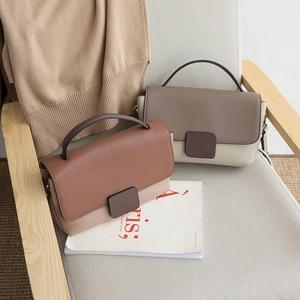 Image 2 - Genuine Leather Hand Bags For Women Contrast Color Tote Bags Shoulder Bag Lady Crossbody Bags Luxury Handbags Women Bag Designer