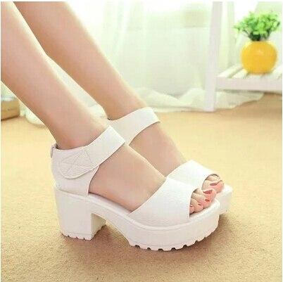 0a95d6eec55 Newest thick heel open toe platform women sandals summer high-heeled shoes  white black Korean sandals casual comfortable shoes