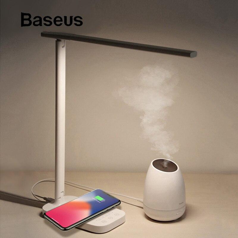 Baseus Lamp Qi Wireless Charger for Phone XS Max X Foldable Table Desktop Desk LED Light