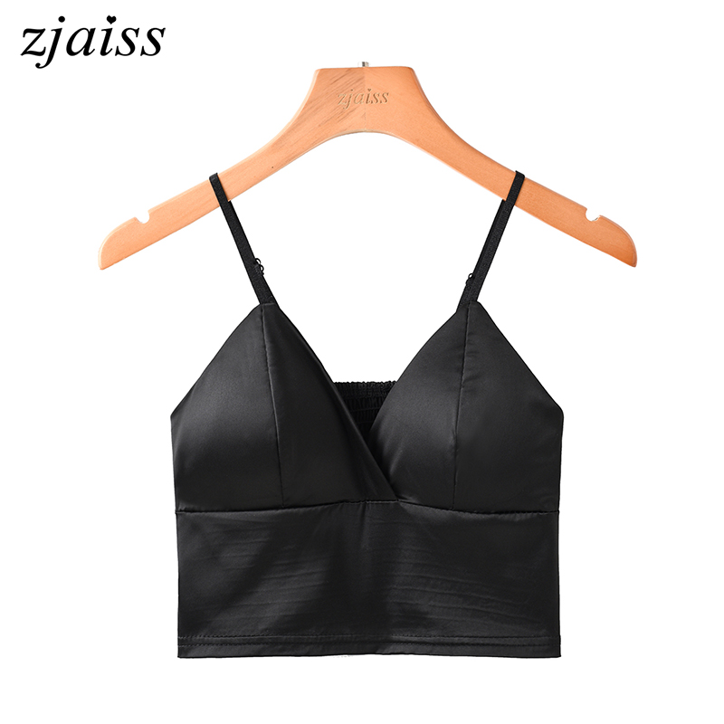 Modeled Silk Women Crop   Tops   2018 Camisole Camis Bralette Strappy Unlined Lingerie Bra Sexy   Tops   Satin vest   tank     top   Black White