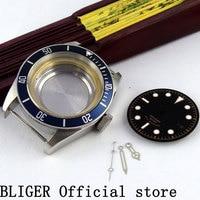 BLIGER 41 MM Rvs Case Saffierglas Horloge Case + Lichtgevende Handen + Dial Fit Miyota 8215 8205 Automatische beweging C42