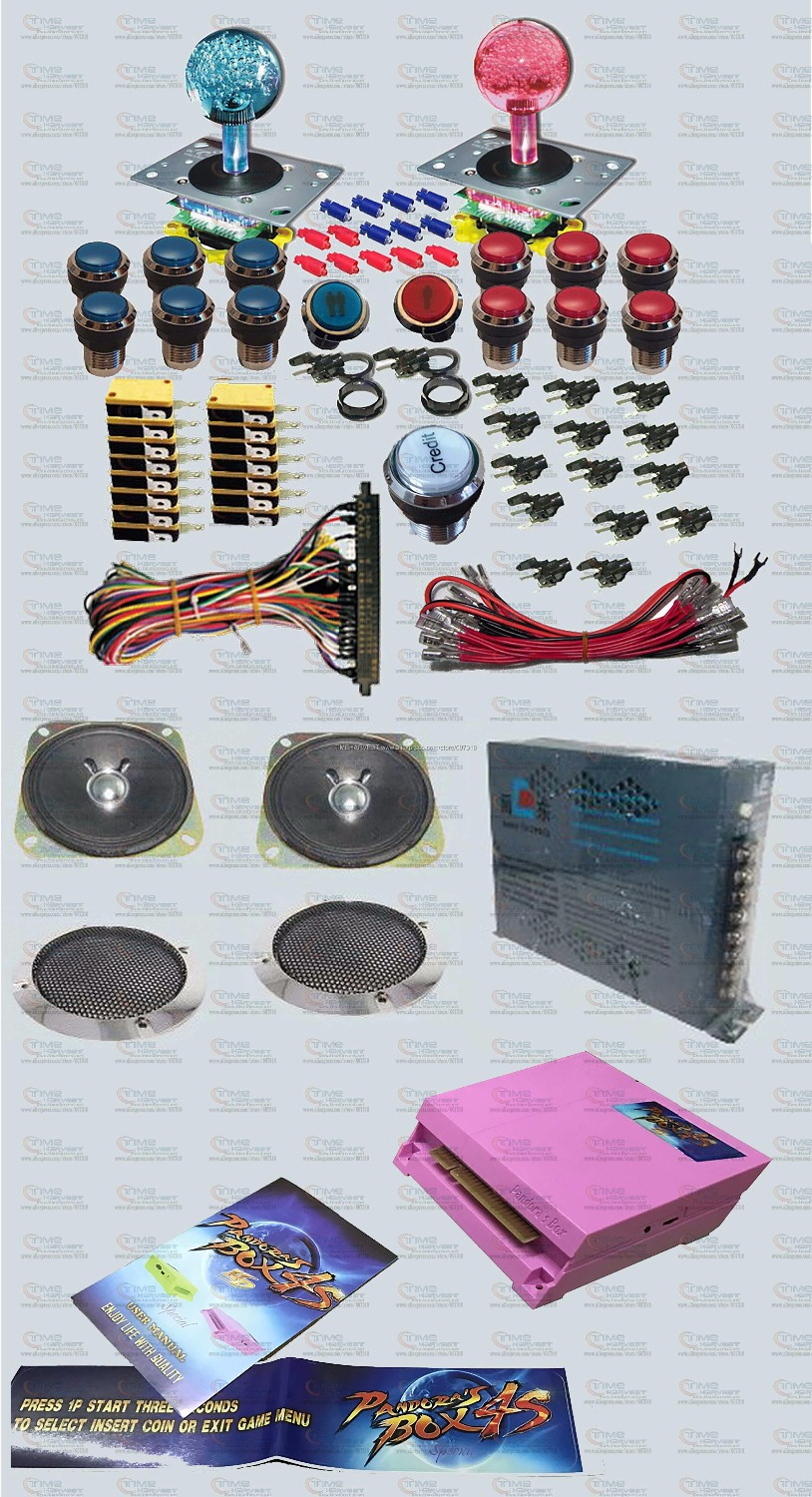 Arcade parts Bundles kit With HDMI Pandora Box 4S games LED illuminated Joystick Chrome LED button Microswitch Jamma Harness