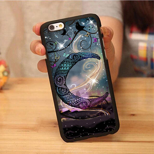 best sneakers e50c1 fcbea US $3.88 |Crescent moon stars pretty girly sky birds Soft TPU Skin Cell  Phone Case For iPhone 6 6S Plus 7 7 Plus 5 5S 5C SE 4S Back Shell-in Fitted  ...