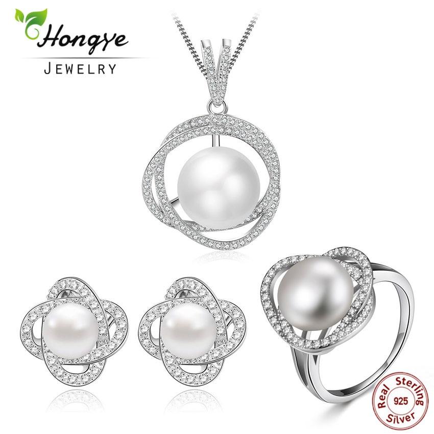 f51aec49e4d Hongye pärl ripats kaelakee kõrvarõngad sõrmus naistele, geomeetriline  disain ripats Indiast, mageveepärl e.