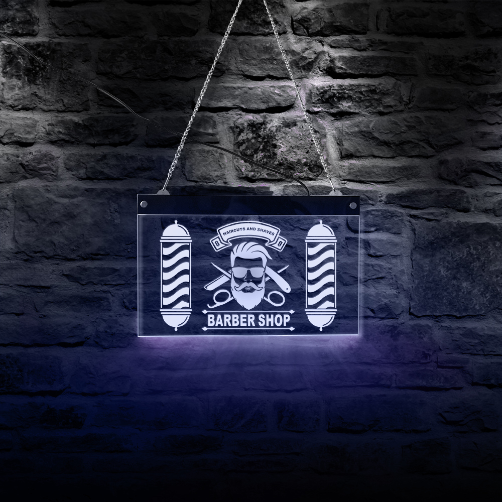 Barber Shop Rectangle Acrylic LED Neon Sign Board Haircut Beauty Salon Wall Art Decor Colors Changing USB Display Light Sign