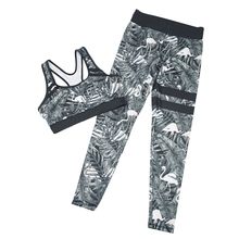 New Arrival Women's Sportswear Suits Sexy Push Up Leggings Two Piece Set Fitness Tank Top Printed Brand Tracksuit Suits Women