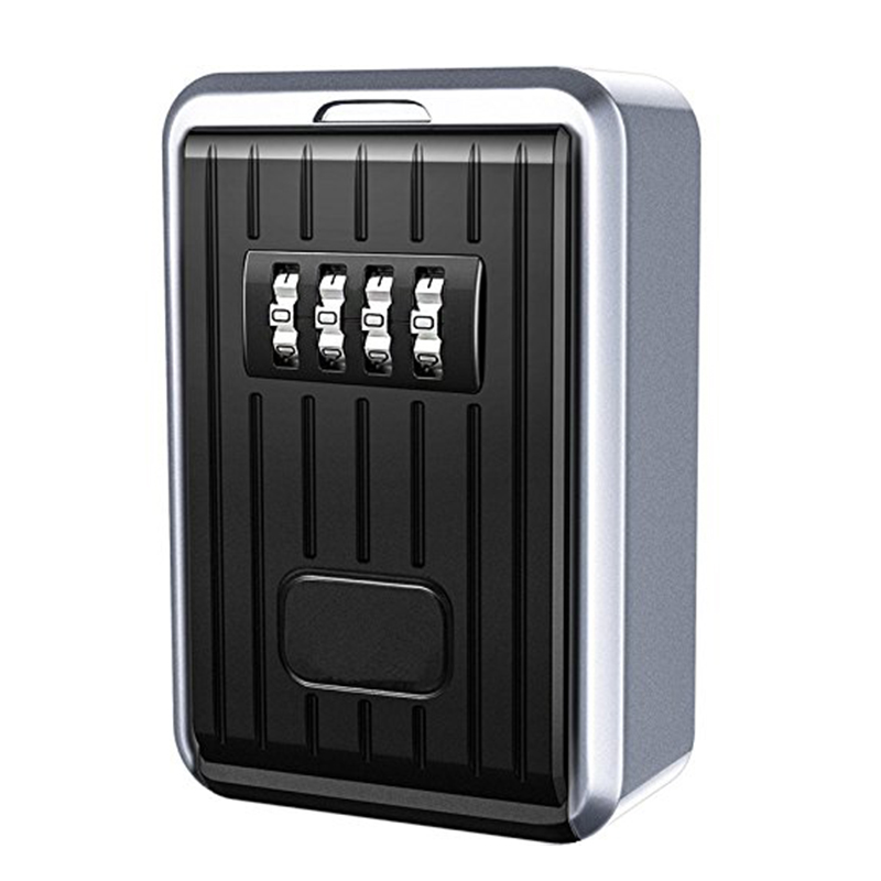 Lock Box 4 Digit Combination Waterproof Box Aluminum Alloy Weather Resistant Key Hider with Resettable Code Key Storage Wall Box realtor wall mount key lock box with 10 digit push button combination is weather resistant for indoors or outdoors