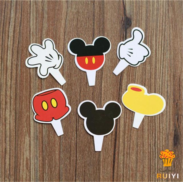 24pcs Mickey Mouse Cake Toppers Cupcake Picks Cases For Kids