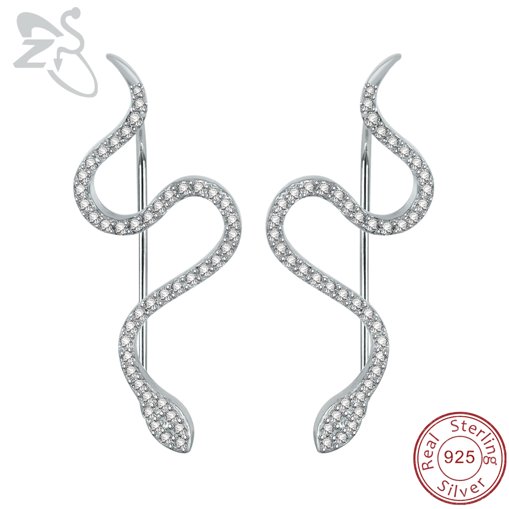 ZS 2019 Snake Earrings 925 Sterling Silver Micro Inlay AAA Cubic Zirconia Trendy Stud Earrings untuk Wanita Pesta Pernikahan Perhiasan