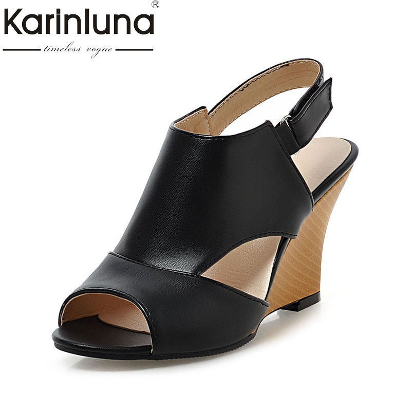 Karinluna 2018 Hot Sale Peep Toe Wedge high-heeled Back Strap Women Shoes Woman Summer Sandals shoes Fashion Large Size 34-43 hot sale 2016 summer new hollow flowers fish mouth high heeled women s sandals plus size 34 43 shoes
