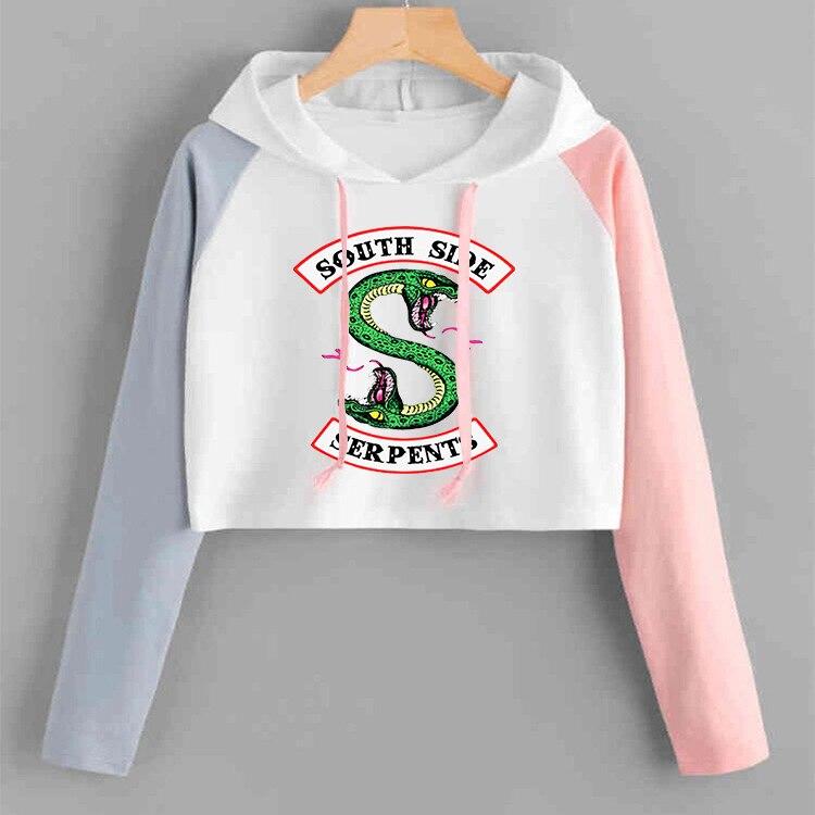 Riverdale Hoodies South Side Serpents Spring/Summer Streetwear Short Hoodie Sweatshirts Print Hooded Pullover Tracksuit Female