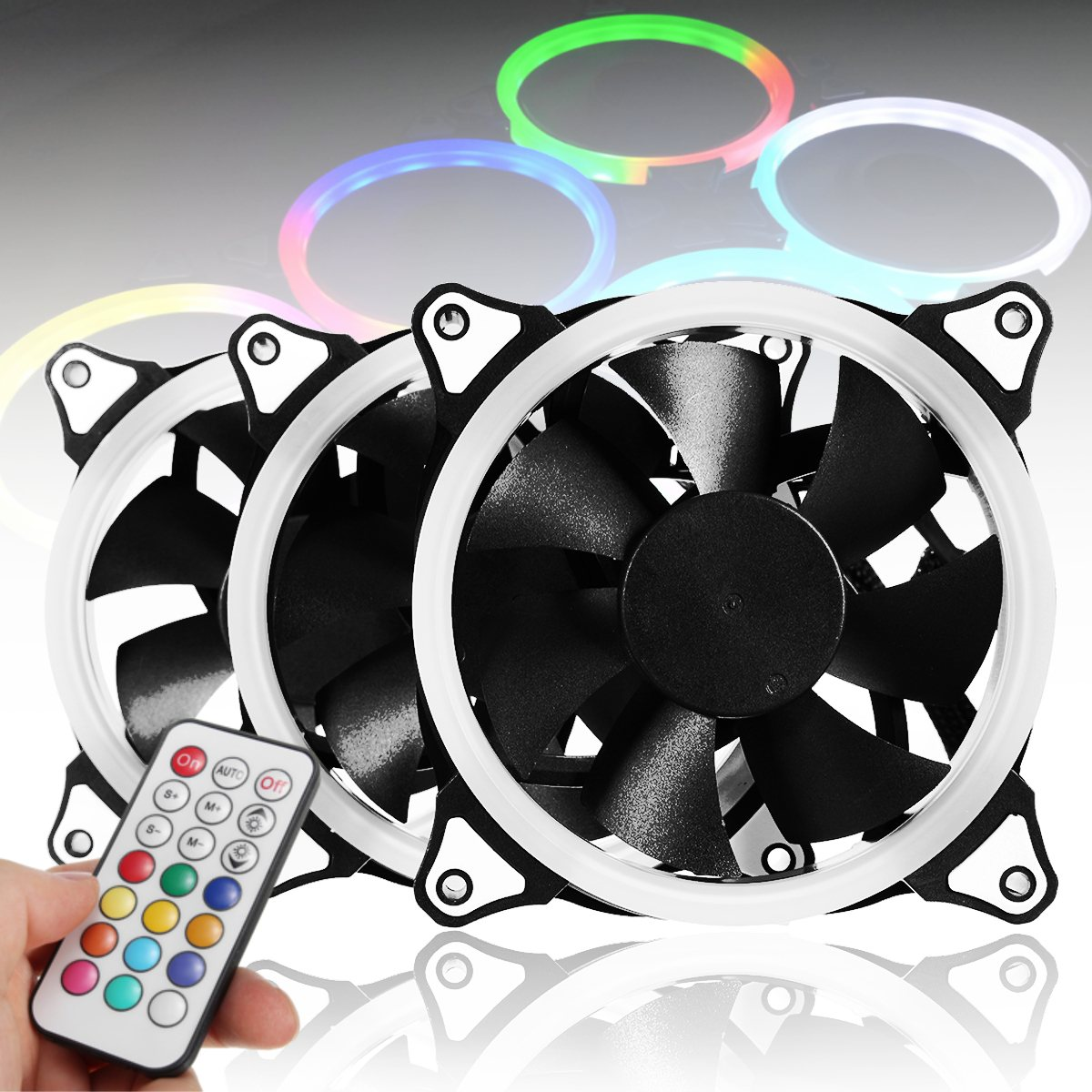 3pcs 12V 120mm Computer Case PC Cooling Fan RGB Adjustable LED Quiet + IR Remote New Silent fan Cooling Cooler Fan For CPU 4 in 1 multifunction charging dock station cooling fan external cooler dual charger for xbox one controllers s game console