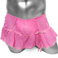 Ruffles Lace Sissy Panties With Crotchless Thong Skirted Sexy lingerie Underwear Thong Gay Sissy Skirted Panties Underpants contrast lace silps with thong