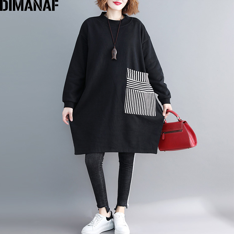 DIMANAF Women Plus Size Hoodies Sweatshirts Thicken Female Clothes Pullover Vintage Black Top Patchwork Loose 2019 Autumn Winter