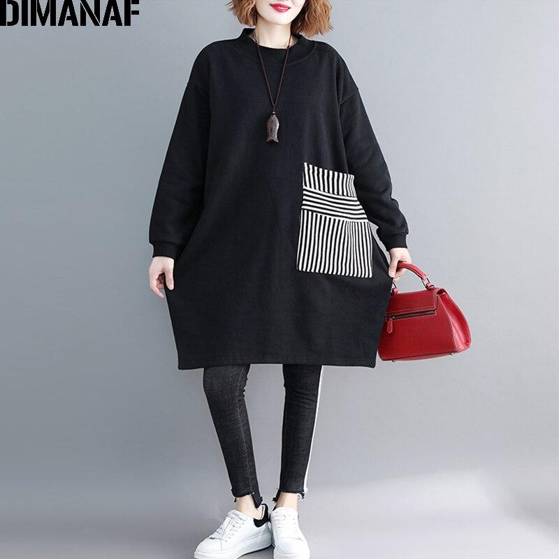 DIMANAF Frauen Plus Größe Hoodies Sweatshirts Verdicken Weibliche Kleidung Pullover Vintage Schwarz Top Patchwork Lose 2021 Herbst Winter