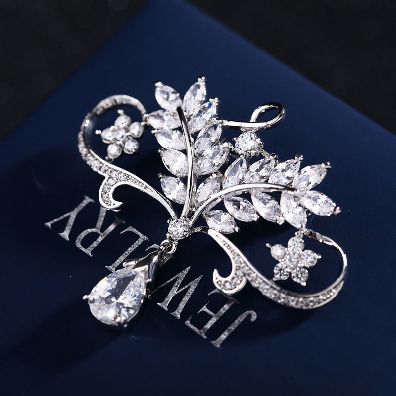 SexeMara Dangle Water Drop Micro-wax Inlay Zircon Brooches For Women Shirt Jewelry Brooch Pin Flower And Leaves Vintage Brooch chic faux gem inlay dragonfly shape brooch for women