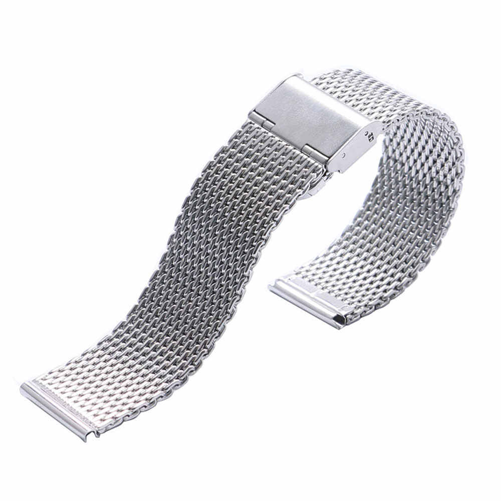 Silver High Quality Stainless Steel Mens Watch Band Web Mesh Watch Strap for Men Women Watches Push Botton Hidden Bracelet