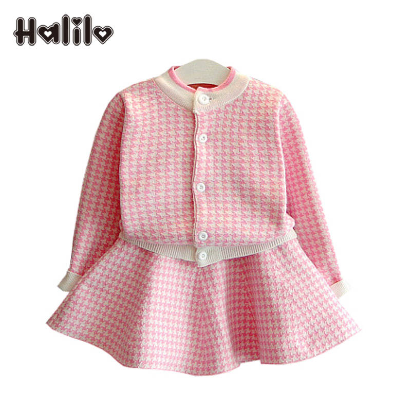 Halilo Girl Clothes Set Autumn Girls Clothing Sets Long Sleeve Coat Skirt Two Piece Christmas Outfit Kids Clothes Girls Outfits new autumn sweet girls sets two piece cardigan outwear cape jacket long sleeve dress cotton lace kids girls clothes sets