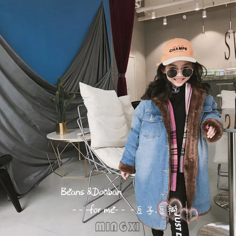 Children's wear 2018 winter new girls coat children's denim long section thick coat lamb cashmere coat coat gaudi coat