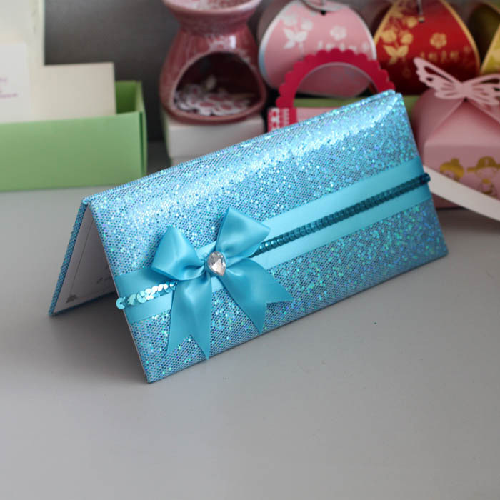 Glitter Wallet Style Luxury Wedding Invitation White Color With ...