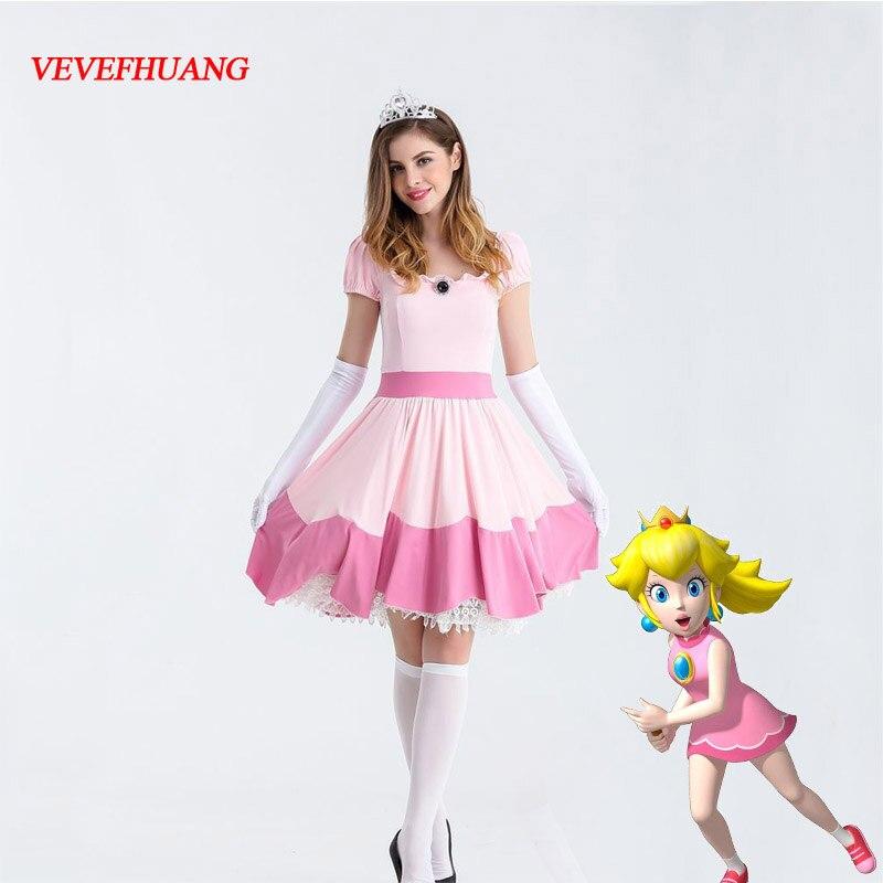 VEVEFHUANG Deluxe adulto princesa melocotón disfraz Mujer Princesa melocotón Super Mario Bros fiesta Cosplay disfraces Halloween