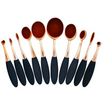 Professional 10 Pincel Rose Gold Oval Toothbrush Makeup Brushes Extremely Soft Make Up Brushes Set Foundation