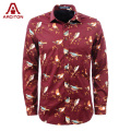 A ARCITON 2015 Brand New Brids Print Shirts Men Cotton Long Sleeve Shirt Men Winter Turn-Down Collar Slim Mens Shirts (N-807)