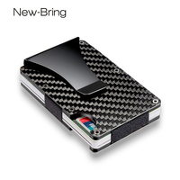 NEWBRING Carbon Fiber Mini Money Clip Brand Fashion Black White Credit Card ID Holder With RFID