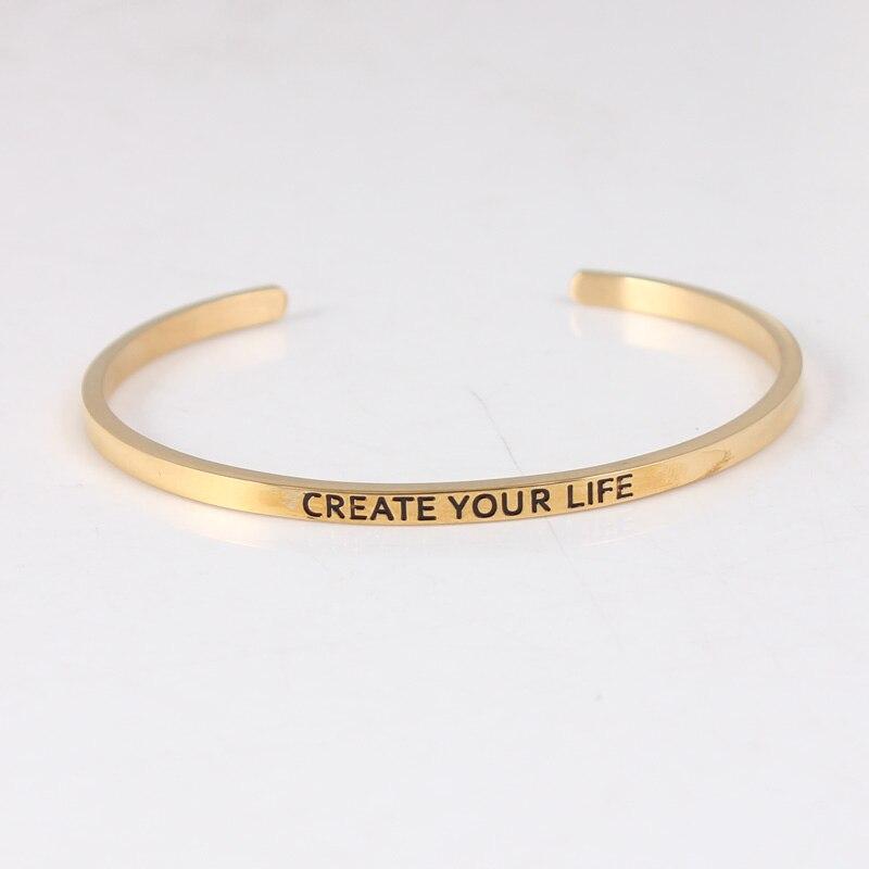 Créer votre vie bracelet à breloques 316 Bracelets en acier inoxydable Bracelets lettres inspirantes Bracelets pour femme 10 pcs/lot
