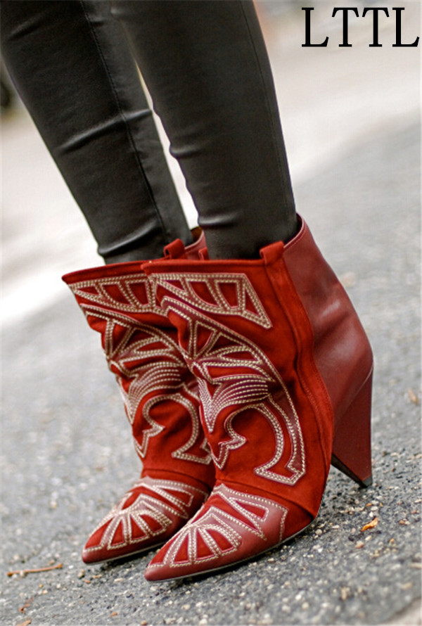 Hot beautiful Embroidery Ankle Boots Suede High Heels Women Boots Cool Ladies Fall Winter Spike Heel Booties Shoes Woman beautiful darkness