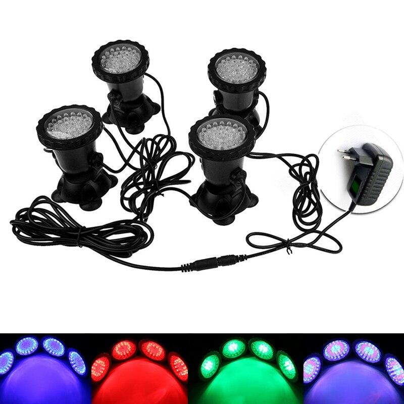 1 set With 4 Lights RGB 36 LED Underwater Light Spotlight Waterproof IP68 Lights for Pond Tank Aquarium Landscape Lighting MB104