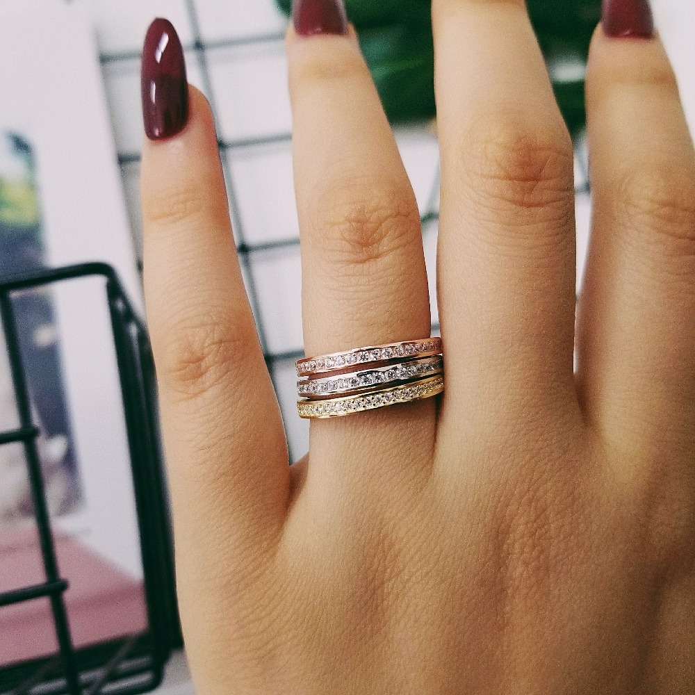 Solid 925 Sterling Silver Band Ring Eternity Finger Three Colors For Women Jewelry Wedding Engagement Wholescale Lr4320as In Bands From