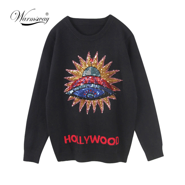 Women New vintage 3D UFO Sequins warm sweaters long sleeve o neck pullovers  winter autumn knitted a288e481f