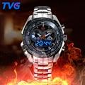 Male Sports Watch Men Full stainless steel waterproof Quartz-watch Digital Analog Dual display Men's LED Military Watches montre