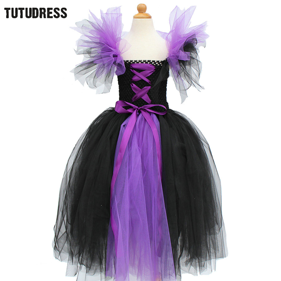 Black Purple Girl Tutu Dress Children Witch Halloween Cosplay Costume Tulle Dresses Kids Girl Carnival Fancy Party Dress Clothes halloween cosplay dress black cat girl costume children kids performance clothes girls carnival tutu mesh kitty dress with tail