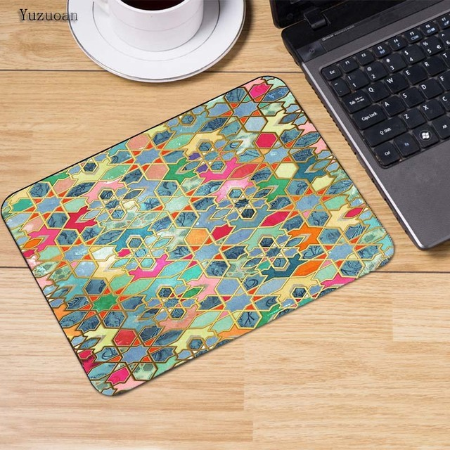 Yuzuoan Colorful Persian Carpet Mouse Pad Locked Edge Pad to Mouse Notbook Computer Mousepad 18*22cm Gaming Padmouse Gamer