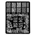 14.5*9.5 cm Diseño Rectángulo XL Stencil Stamping Nail Art Placa de La Imagen plantilla de la plantilla de metal de encaje de flores patrones de manicura HK010