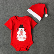 New Baby Sets Clothes Christmas Short Sleeve Snowman Letter Jumpsuits Hats Roupa Infantil Baby Girl Boy Clothes Kids Costumes