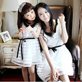 A6005# Matching Mother Daughter Clothes White Striped Organza Mom and Daughter Dress with Belt 2016 Summer Family Look Outfits