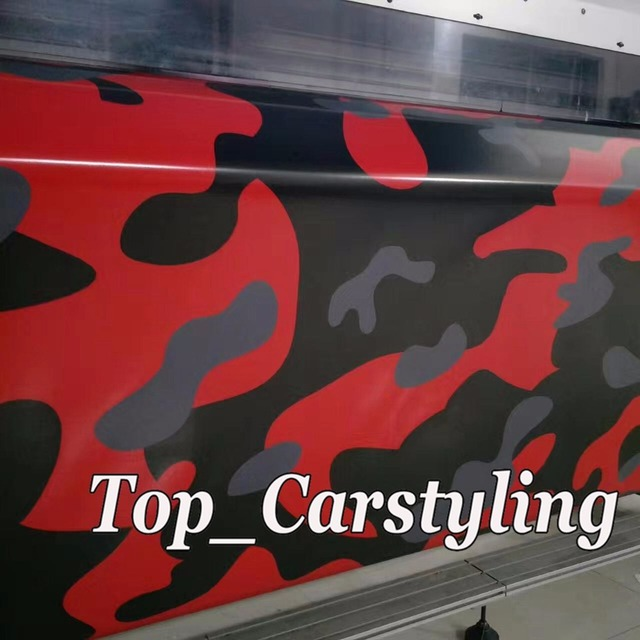 152x30m Roll Red Gray Camouflage Vinyl Car BODY Wrap Film Camo Motorcycle Bike Vehicle