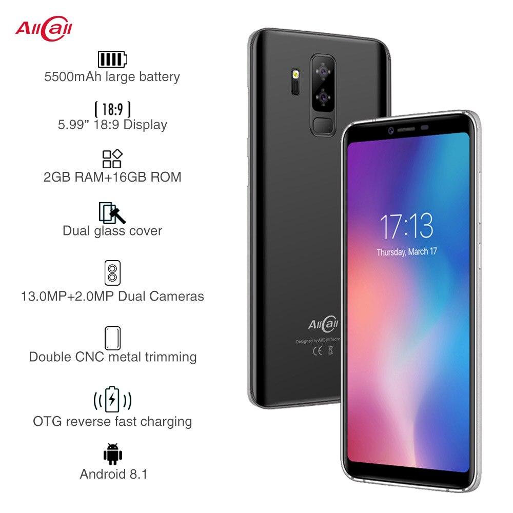 Allcall S5500 5500 mAh 3G Smartphone 18:9 5.99 Pouces Android 8.1 MTK6580M Quad Core 2 GB RAM 16 GB ROM Arrière Double Caméra téléphone portable